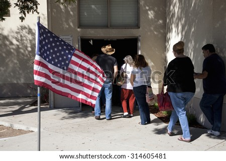 Voters stand in line at polling station to vote in 2012 Presidential Election, Ventura County, California, November 6, 2012  - stock photo