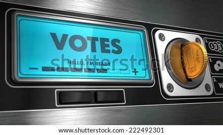 Votes - Inscription in Display on Vending Machine. Business Concept. - stock photo