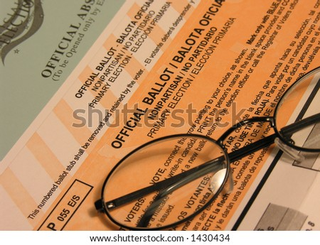 "Voting ballot, envelope and glasses  (Focus on ""Official Ballot"" Text) - stock photo"