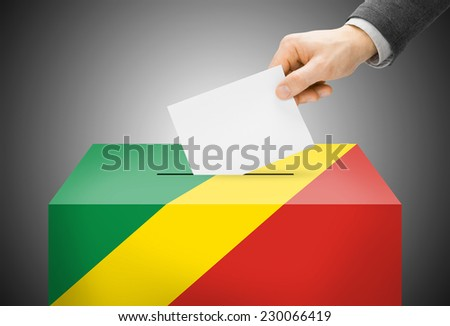 Voting concept - Ballot box painted into national flag colors - Democratic Republic of the Congo - stock photo