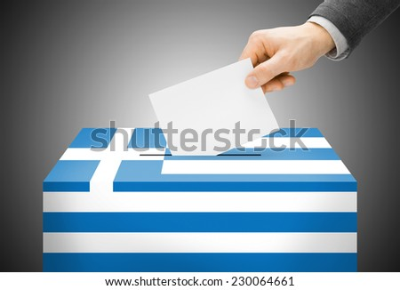 Voting concept - Ballot box painted into national flag colors - Greece - stock photo