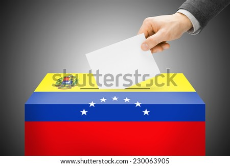 Voting concept - Ballot box painted into national flag colors - Venezuela - stock photo