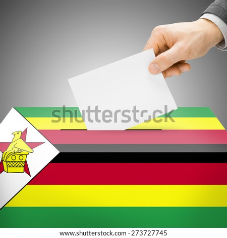 Voting concept - Ballot box painted into national flag colors - Zimbabwe - stock photo