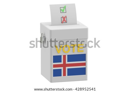 voting concept. Ballot box with flag of Iceland on ballot box, 3D rendering - stock photo