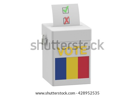 voting concept. Ballot box with flag of Romania on ballot box, 3D rendering - stock photo