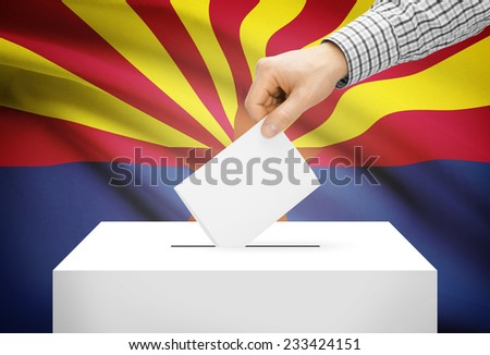 Voting concept - Ballot box with national flag on background - Arizona - stock photo