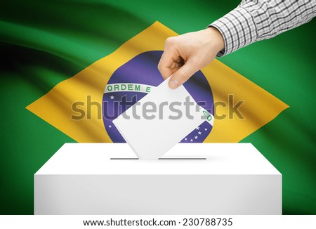 Voting concept - Ballot box with national flag on background - Brazil - stock photo