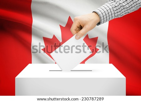 Voting concept - Ballot box with national flag on background - Canada - stock photo