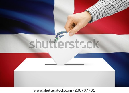 Voting concept - Ballot box with national flag on background - Dominican Republic