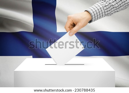 Voting concept - Ballot box with national flag on background - Finland - stock photo
