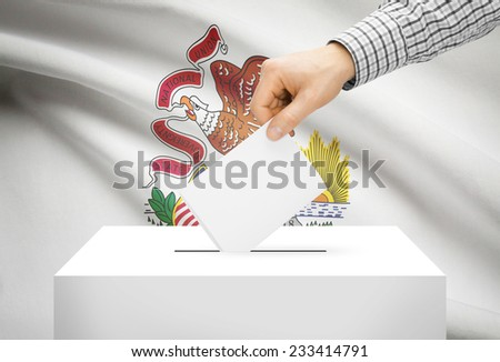 Voting concept - Ballot box with national flag on background - Illinois - stock photo