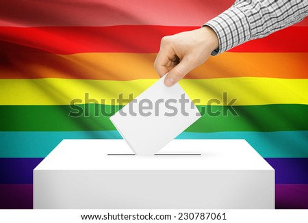 Voting concept - Ballot box with national flag on background - LGBT flag - stock photo
