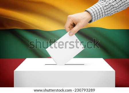 Voting concept - Ballot box with national flag on background - Lithuania - stock photo