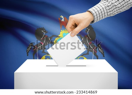 Voting concept - Ballot box with national flag on background - Pennsylvania - stock photo