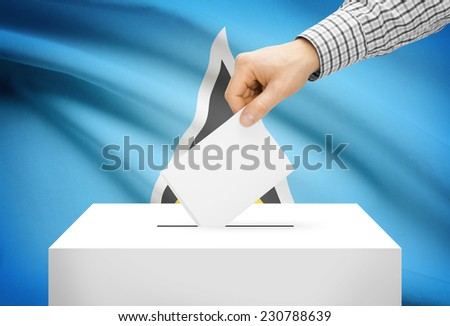 Voting concept - Ballot box with national flag on background - Saint Lucia