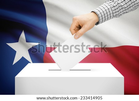 Voting concept - Ballot box with national flag on background - Texas - stock photo