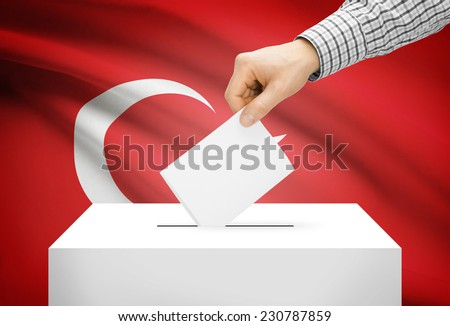 Voting concept - Ballot box with national flag on background - Turkey - stock photo