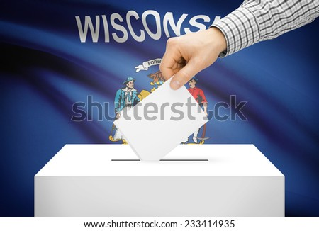 Voting concept - Ballot box with national flag on background - Wisconsin - stock photo