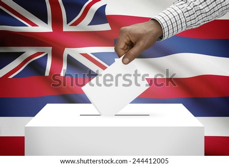 Voting concept - Ballot box with US state flag on background - Hawaii - stock photo