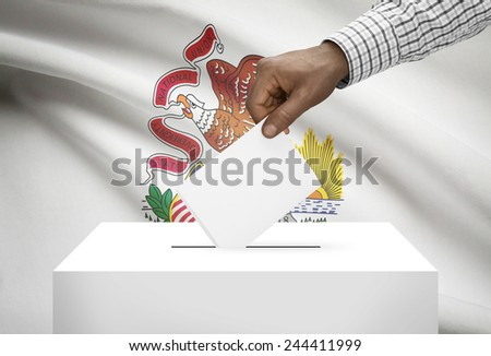 Voting concept - Ballot box with US state flag on background - Illinois - stock photo