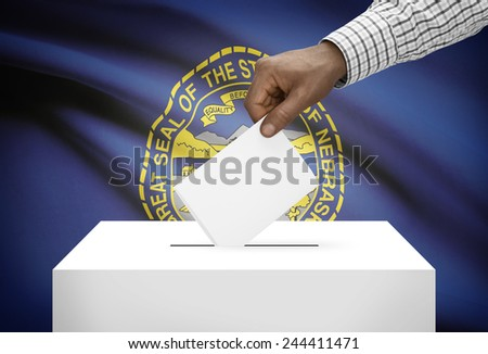 Voting concept - Ballot box with US state flag on background - Nebraska - stock photo