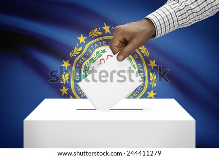 Voting concept - Ballot box with US state flag on background - New Hampshire - stock photo