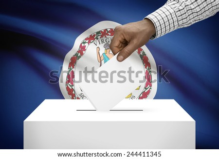 Voting concept - Ballot box with US state flag on background - Virginia - stock photo