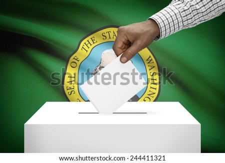Voting concept - Ballot box with US state flag on background - Washington - stock photo
