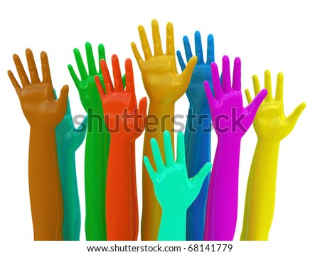 Voting concept Colorful hands isolated on white - stock photo