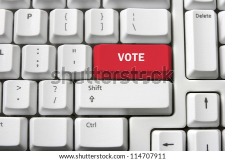 Voting Concept with Keyboard - stock photo