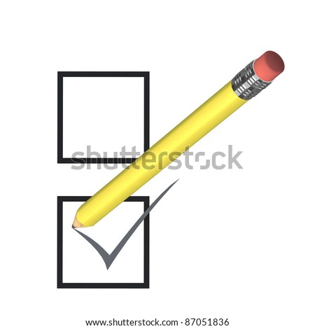 voting concept with yellow pencil,  3d illustration - stock photo