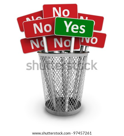 Voting concept: Yes sign among group of No signs in metal office bin isolated on white background - stock photo