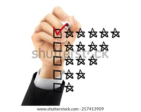 voting five stars by hand on a transparent board - stock photo