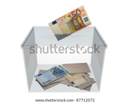 Voting in a ballot box  with an euro banknote. Concept of politics corruption. - stock photo