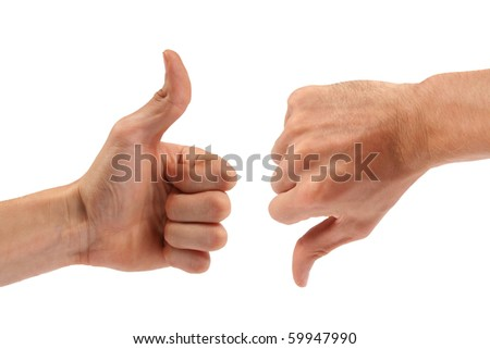 voting: one thumb up, one down - stock photo