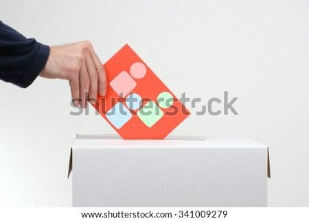 Voting paper showing Candidates and ballot box - stock photo
