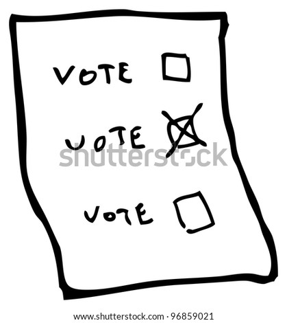 voting slips template - quirky drawing uk voting ballot paper stock vector