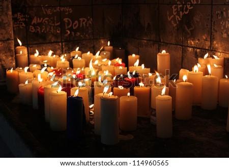 Votive candles, Venezuela - stock photo