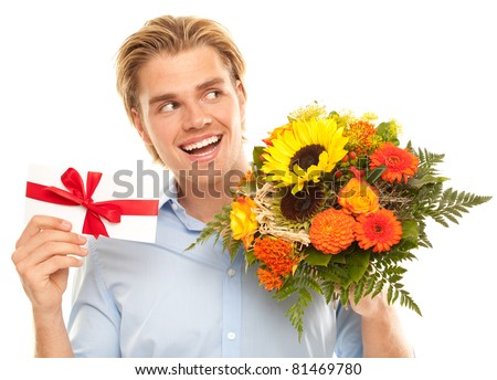 voucher and flowers smile - stock photo
