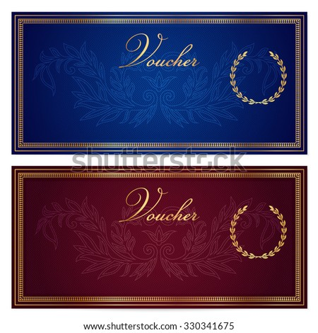 Voucher, Gift certificate, Coupon, Gift money bonus or Gift card template with scroll pattern (border, frame). Background for reward design, invitation, ticket, banknote, currency, check (cheque) - stock photo