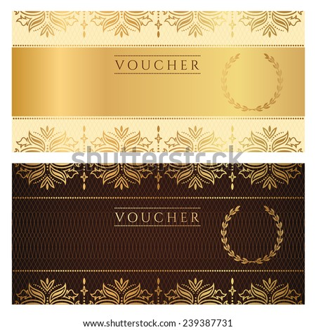 Voucher, Gift certificate, Coupon template with floral border. Background design in gold, dark brown colors for invitation, ticket, banknote, money design, currency, check (cheque) - stock photo