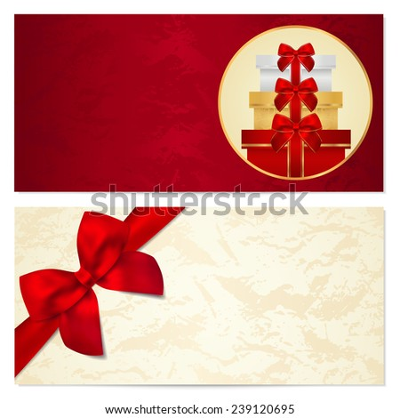 Voucher, Gift certificate, Coupon template with red bow, gifts, presents, boxes. Background for invitation, money design, currency, note, check (cheque), ticket, reward on birthday, christmas etc. - stock photo