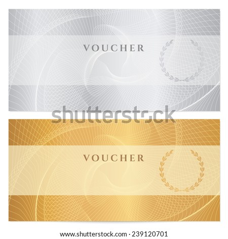 Voucher, Gift certificate, Coupon, ticket template. Guilloche pattern (watermark, spirograph). Gold, silver background for banknote, money design, currency, bank note, check (cheque), ticket - stock photo