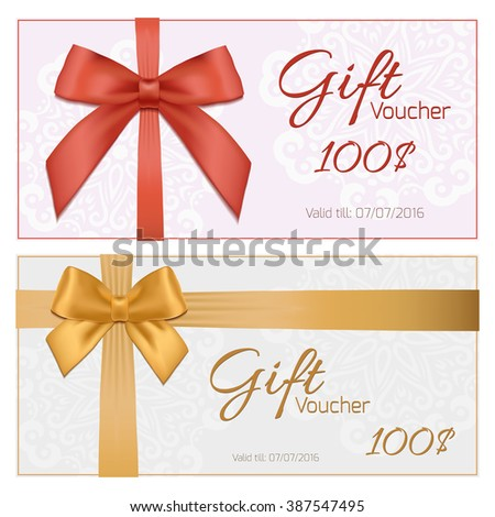 Voucher Gift Certificate Coupon Template Gift Vector – Present Voucher Template