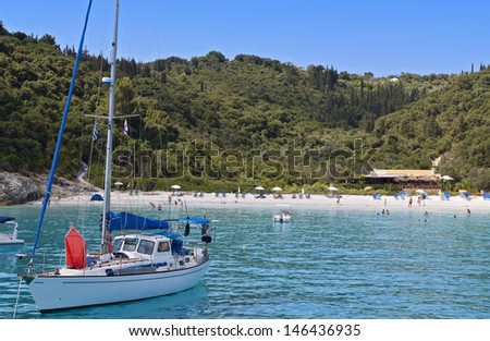 Voutoumi bay at Antipaxos island in Greece. Ionian sea - stock photo