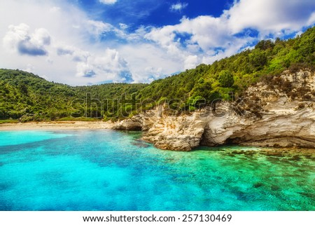 Voutoumi beach, Antipaxos island, Greece - stock photo