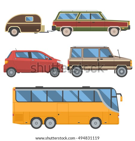 Voyage cars set. Travel automobile collection in retro colors. Summer auto trip transport. Yellow bus, hatchback, retro minivan and old station wagon with trailer hindcarriage.