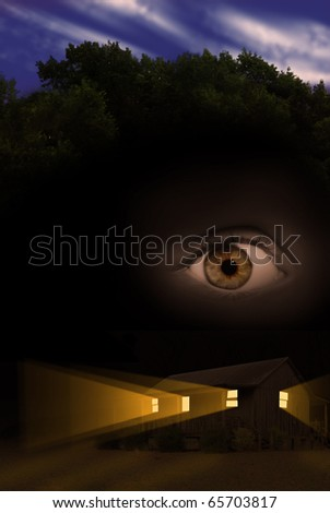 Voyeurism or stalking concept photograph with one eye watching home at night from the sky. - stock photo