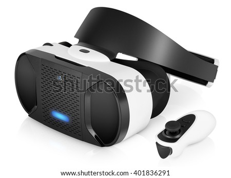 VR virtual reality headset half turned with game controller isolated on white background. VR is the future of gaming that gives players a new awesome experience. - stock photo