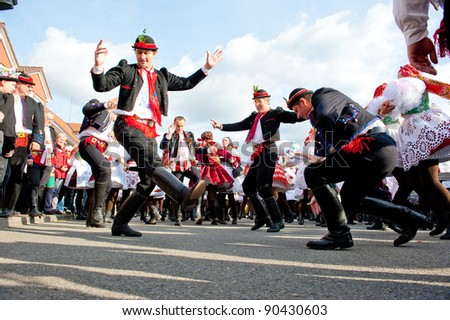 VRACOV - OCTOBER 15: People in folk costume dance Verbunk on The biggest folk feast in Czech Republic, Oct 15, 2011 in Vracov, Czech Republic. Feast Vracov - stock photo